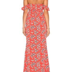 FLYNN SKYE Bardot Maxi Dress RED worn once, LARGE
